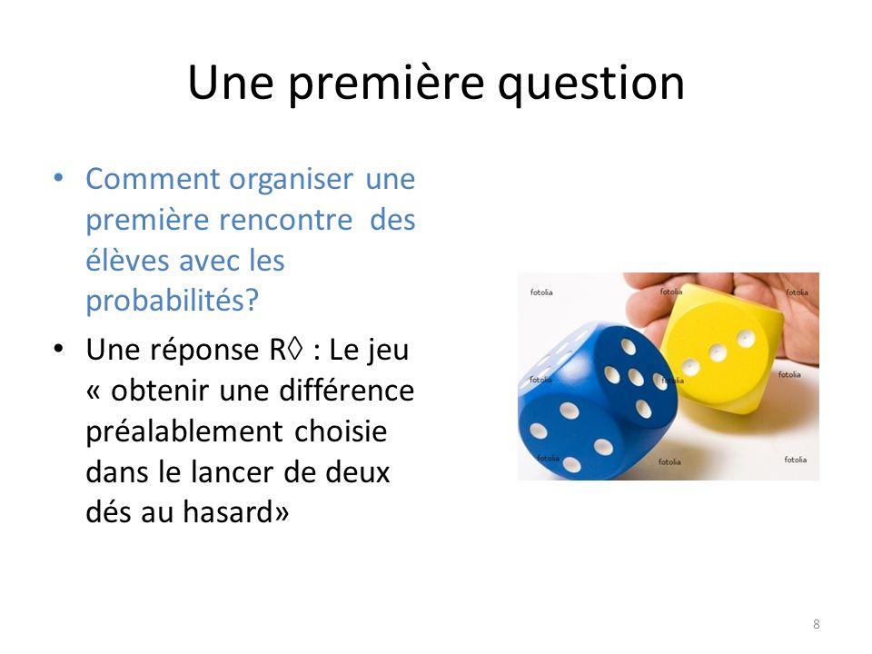 Une première question • Comment organiser une première rencontre des élèves avec les probabilités.