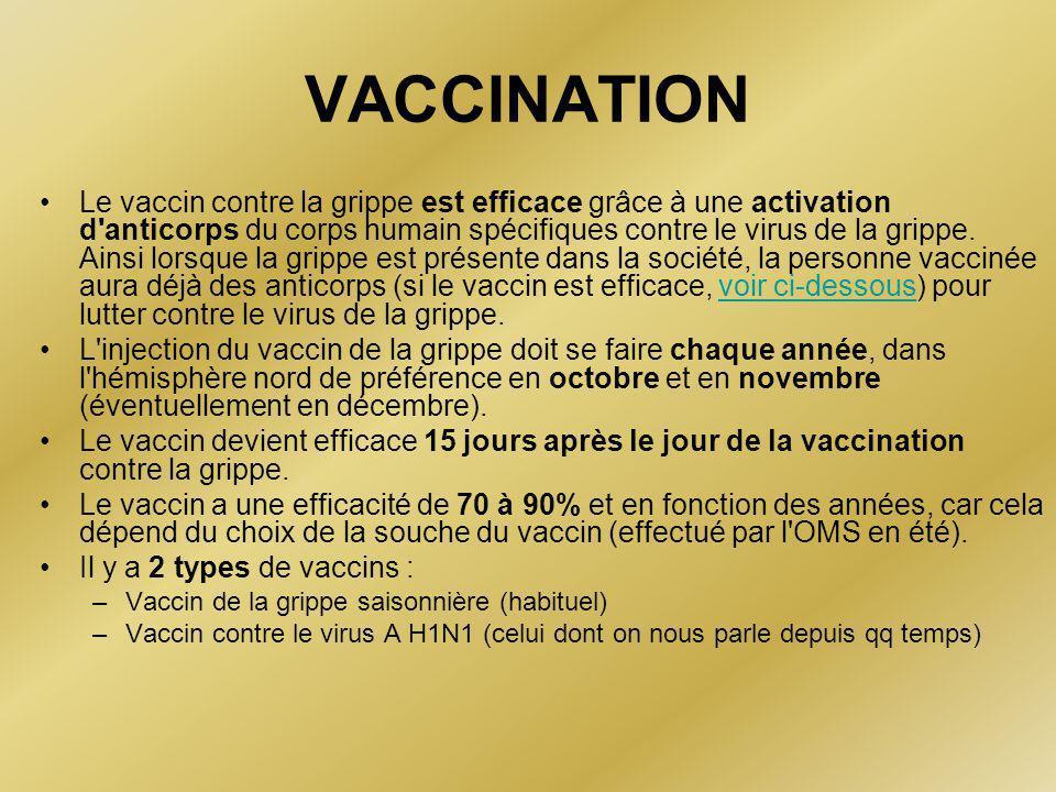 VACCINATION •Le vaccin contre la grippe est efficace grâce à une activation d anticorps du corps humain spécifiques contre le virus de la grippe.
