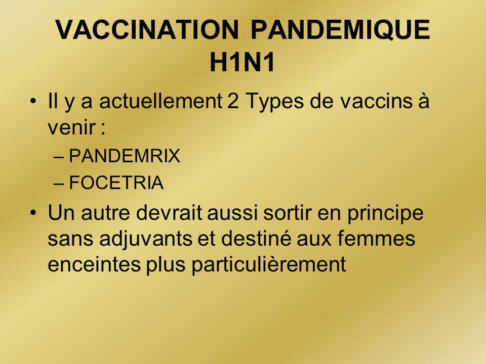 VACCINATION PANDEMIQUE H1N1 •Il y a actuellement 2 Types de vaccins à venir : –PANDEMRIX –FOCETRIA •Un autre devrait aussi sortir en principe sans adjuvants et destiné aux femmes enceintes plus particulièrement