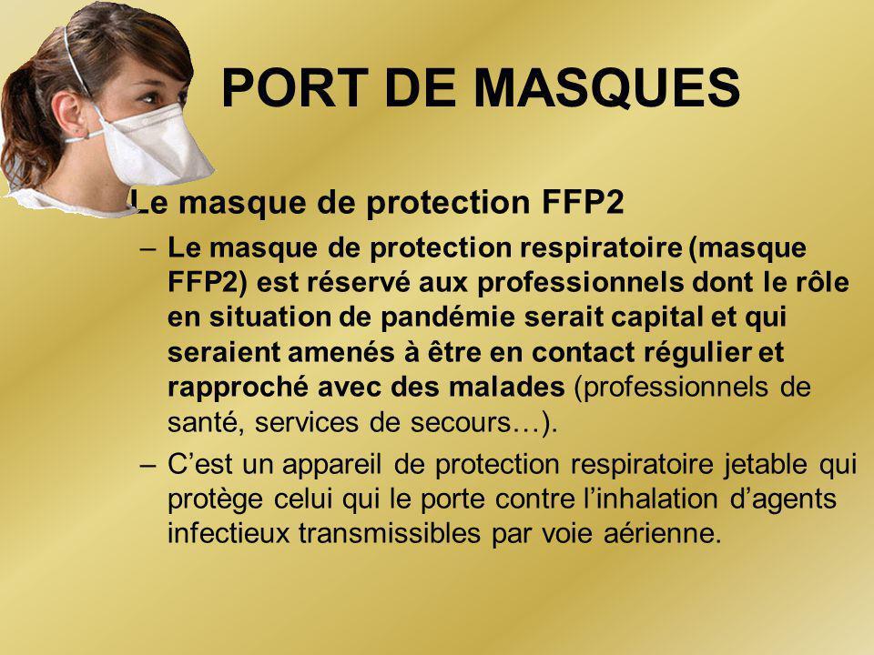 PORT DE MASQUES •Le masque de protection FFP2 –Le masque de protection respiratoire (masque FFP2) est réservé aux professionnels dont le rôle en situation de pandémie serait capital et qui seraient amenés à être en contact régulier et rapproché avec des malades (professionnels de santé, services de secours…).