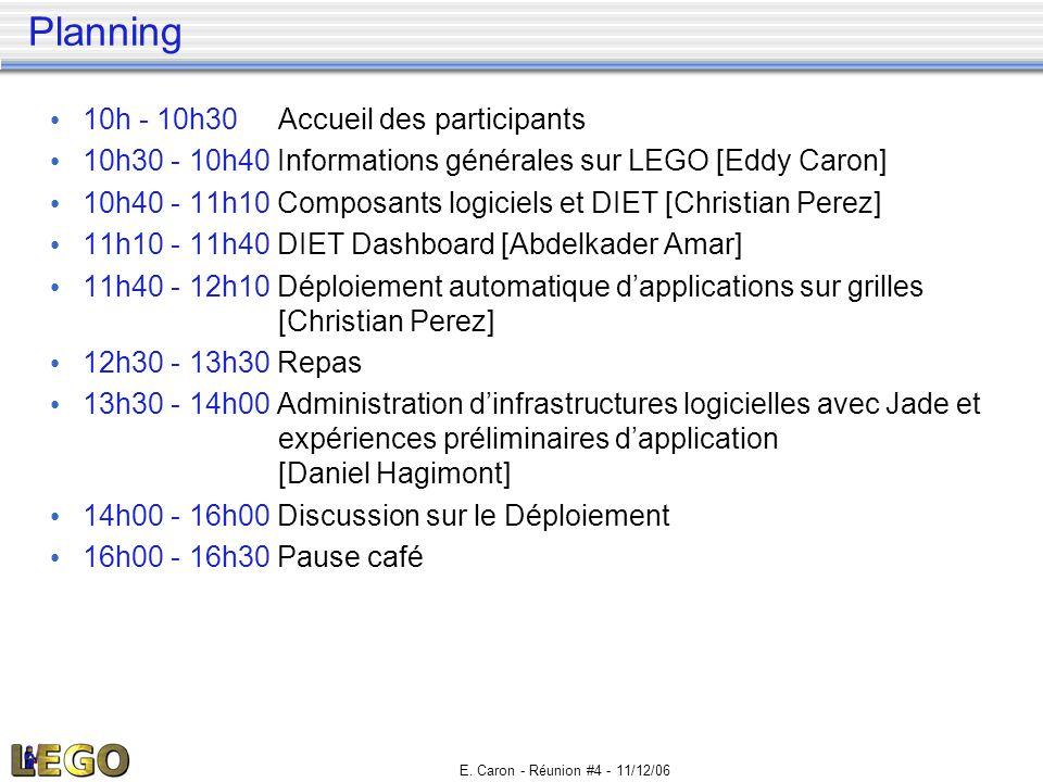 E. Caron - Réunion #4 - 11/12/06 Planning • 10h - 10h30Accueil des participants • 10h30 - 10h40 Informations générales sur LEGO [Eddy Caron] • 10h40 -