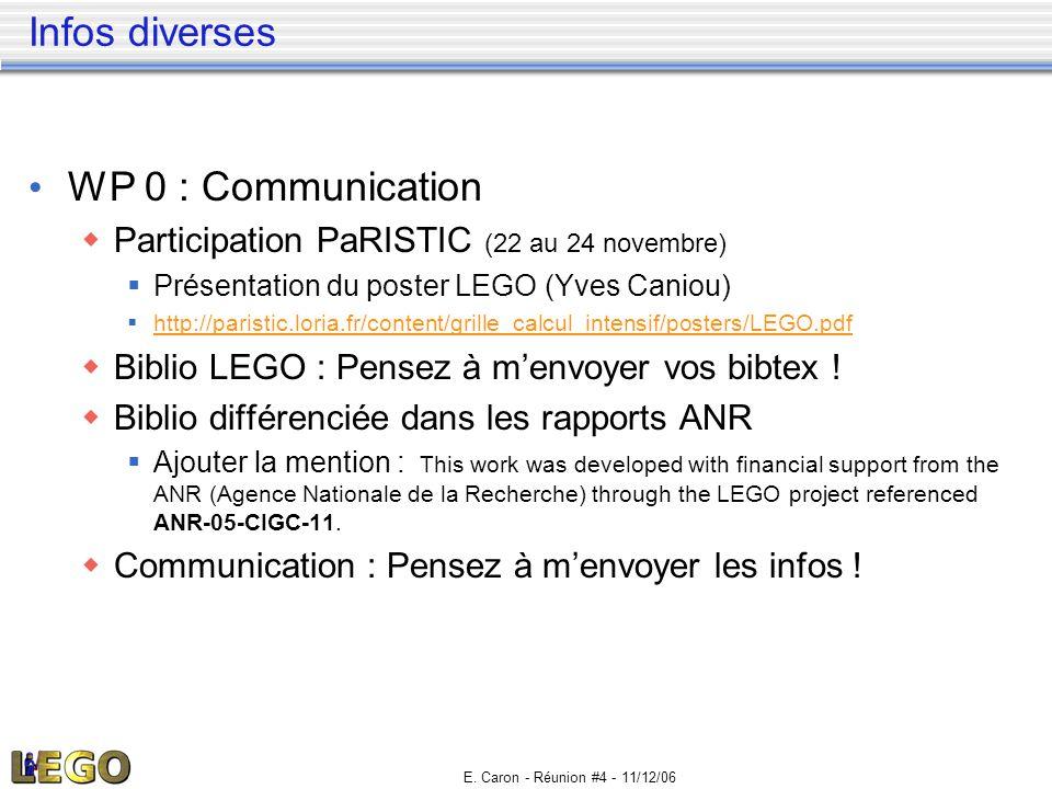 E. Caron - Réunion #4 - 11/12/06 Infos diverses • WP 0 : Communication  Participation PaRISTIC (22 au 24 novembre)  Présentation du poster LEGO (Yve
