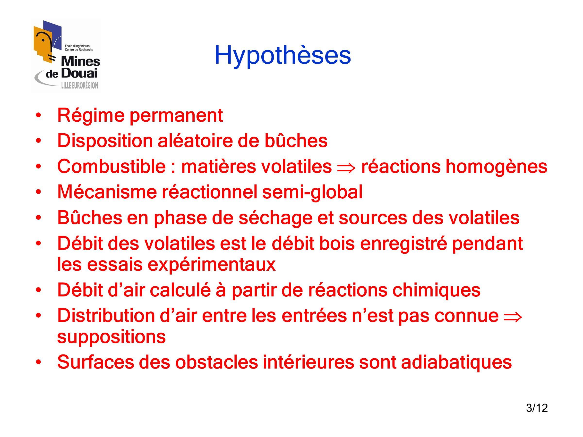 3/12 Hypothèses •Régime permanent •Disposition aléatoire de bûches •Combustible : matières volatiles  réactions homogènes •Mécanisme réactionnel semi