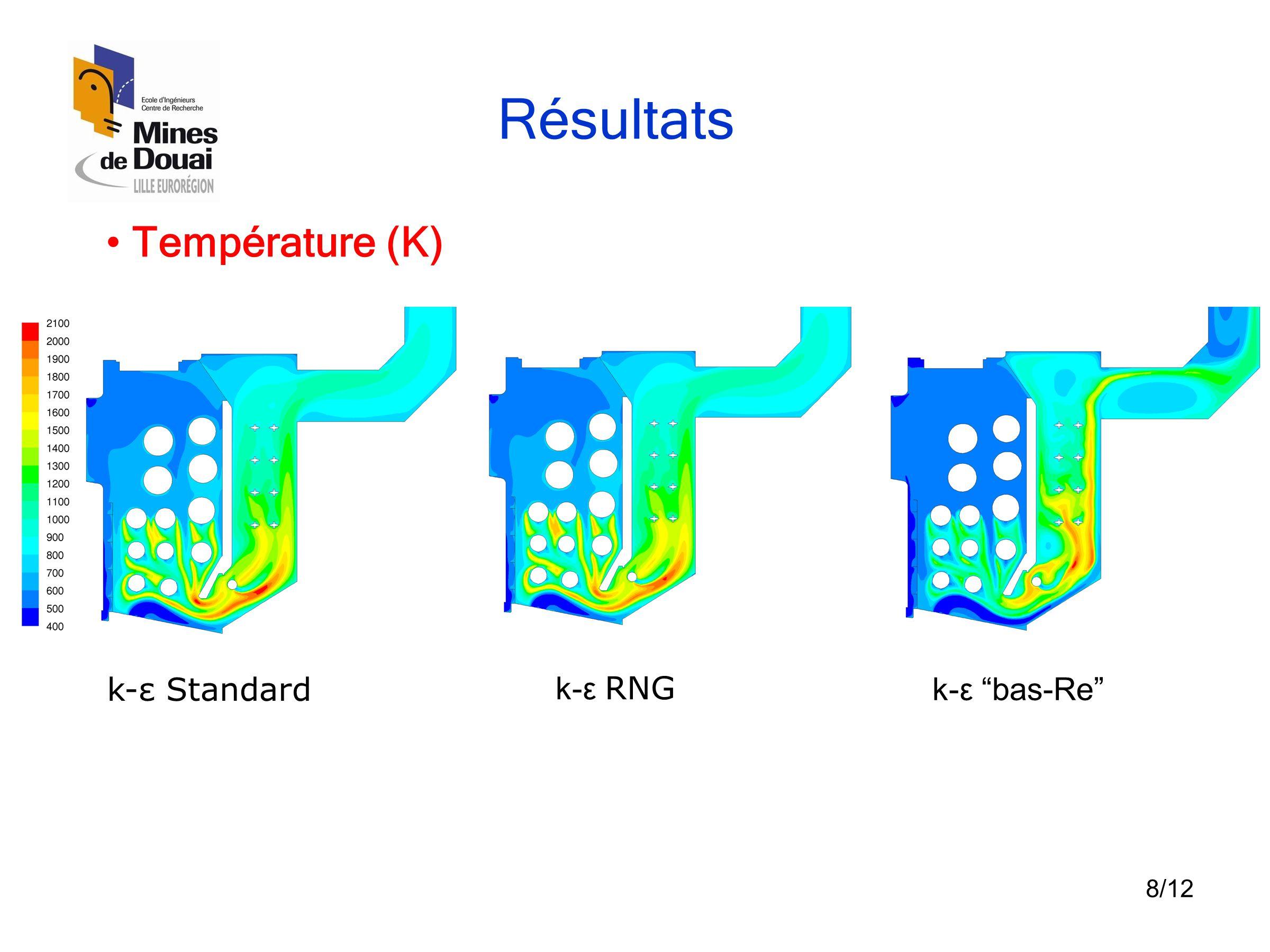 """8/12 Résultats •Vecteurs vitesse (m/s) k-ε Standard k-ε RNG k-ε """"bas-Re"""" • Température (K)"""
