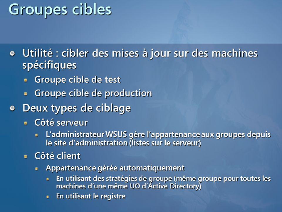 Groupes cibles Utilité : cibler des mises à jour sur des machines spécifiques Groupe cible de test Groupe cible de production Deux types de ciblage Cô