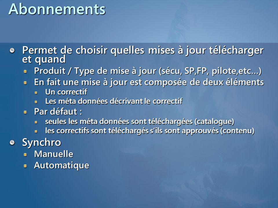 Abonnements Permet de choisir quelles mises à jour télécharger et quand Produit / Type de mise à jour (sécu, SP,FP, pilote,etc…) En fait une mise à jo