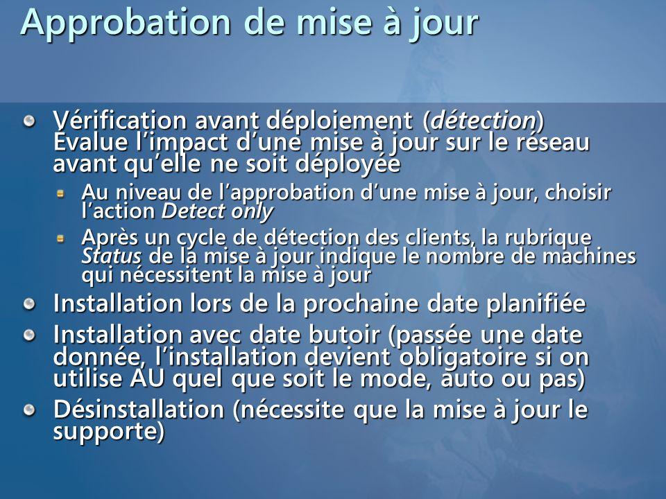 Approbation de mise à jour Vérification avant déploiement (détection) Évalue l'impact d'une mise à jour sur le réseau avant qu'elle ne soit déployée A