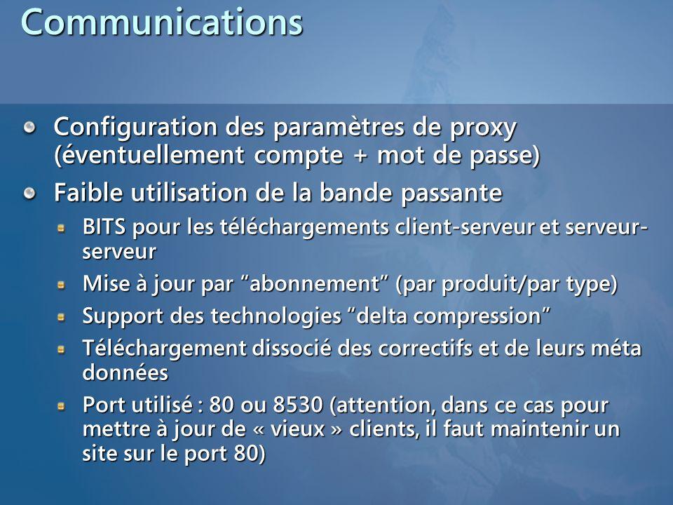 Communications Configuration des paramètres de proxy (éventuellement compte + mot de passe) Faible utilisation de la bande passante BITS pour les télé