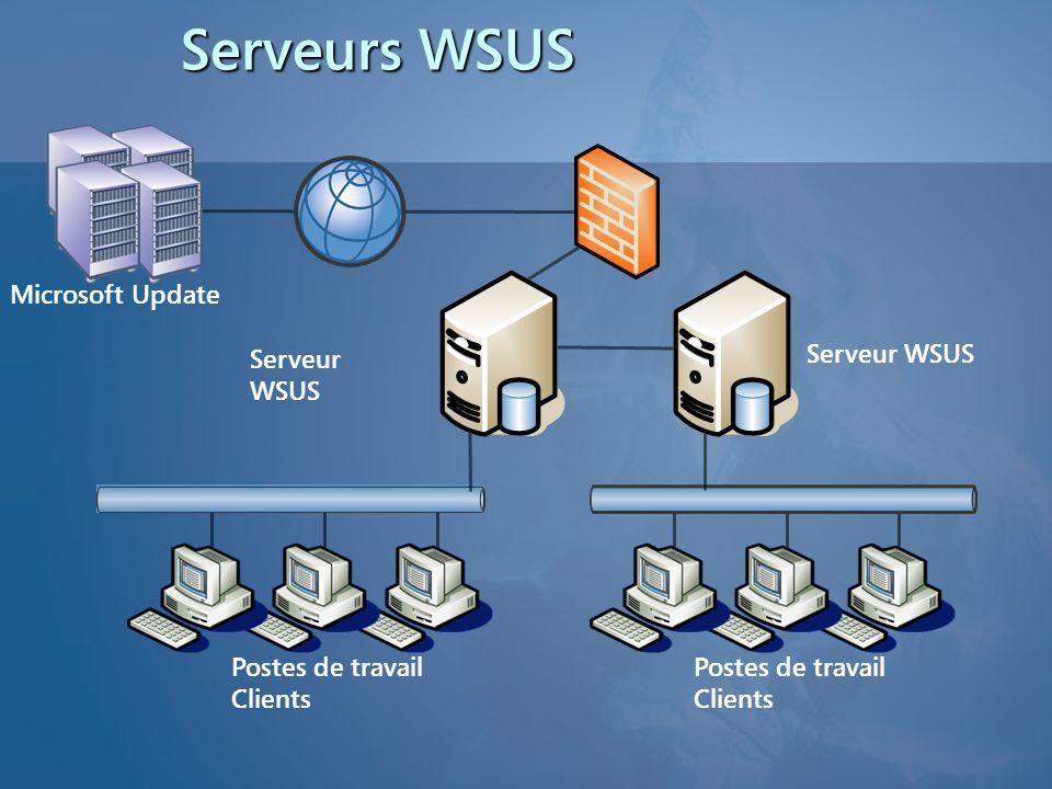 Postes de travail Clients Serveurs WSUS Microsoft Update Serveur WSUS