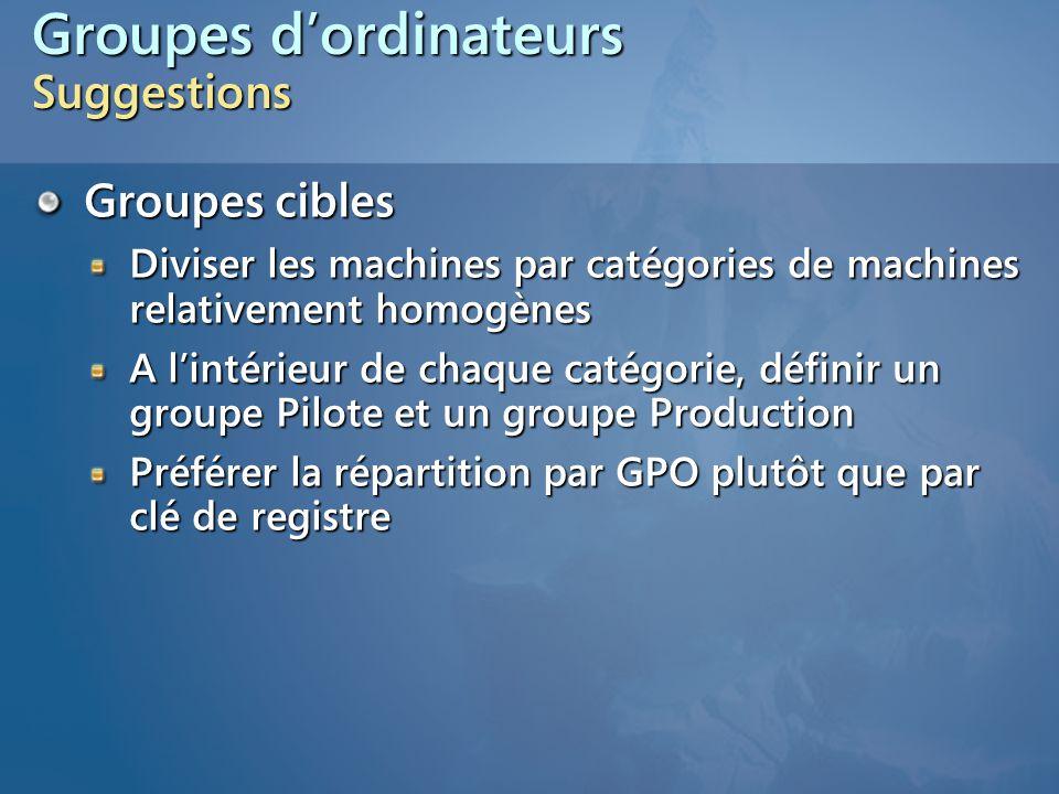 Groupes d'ordinateurs Suggestions Groupes cibles Diviser les machines par catégories de machines relativement homogènes A l'intérieur de chaque catégo