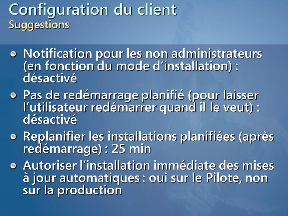 Configuration du client Suggestions Notification pour les non administrateurs (en fonction du mode d'installation) : désactivé Pas de redémarrage plan
