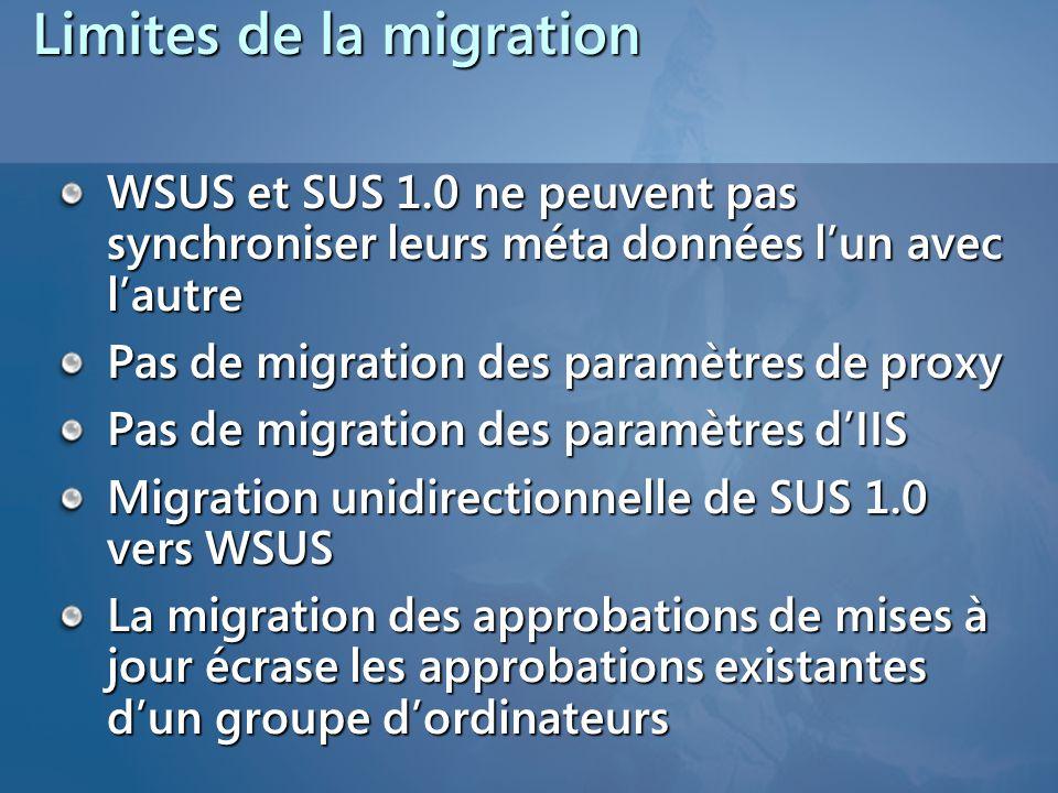 Limites de la migration WSUS et SUS 1.0 ne peuvent pas synchroniser leurs méta données l'un avec l'autre Pas de migration des paramètres de proxy Pas