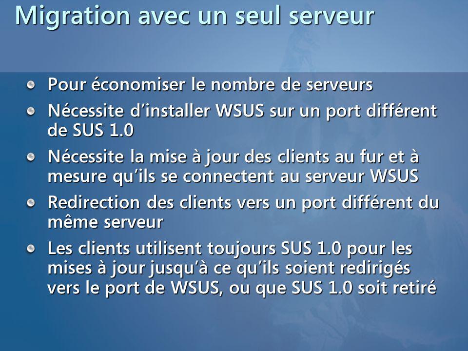 Migration avec un seul serveur Pour économiser le nombre de serveurs Nécessite d'installer WSUS sur un port différent de SUS 1.0 Nécessite la mise à j