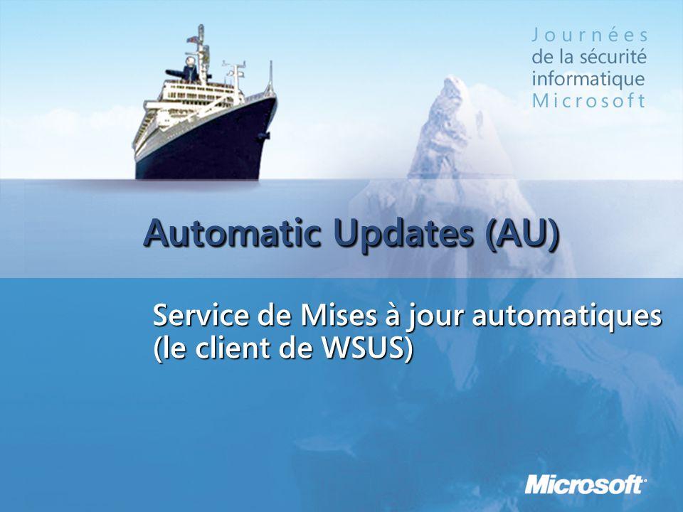 Automatic Updates (AU) Description Service local (Mises à jour automatiques) automatisant l'accès à WU permettant D'obtenir automatiquement les mises à jour critiques et de sécurité de Windows dont elle a besoin De les installer automatiquement (si le propriétaire de la machine le souhaite) Quand on le connecte à WU (ou MU) : à destination du grand public et des TPE Quand on le connecte à WSUS, c'est LE client WSUS (à destination des PME principalement)