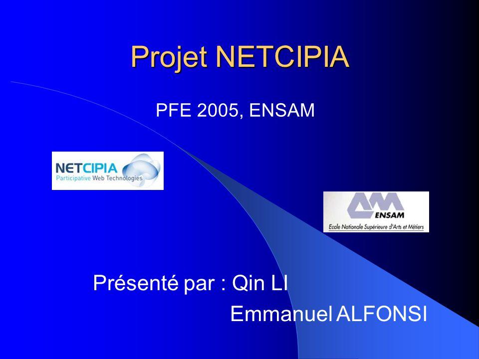 Projet NETCIPIA PFE 2005, ENSAM Présenté par : Qin LI Emmanuel ALFONSI