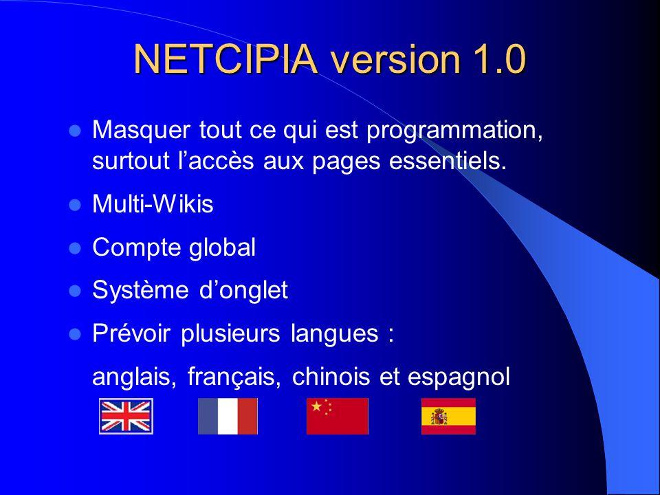 NETCIPIA version 1.0  Masquer tout ce qui est programmation, surtout l'accès aux pages essentiels.  Multi-Wikis  Compte global  Système d'onglet 