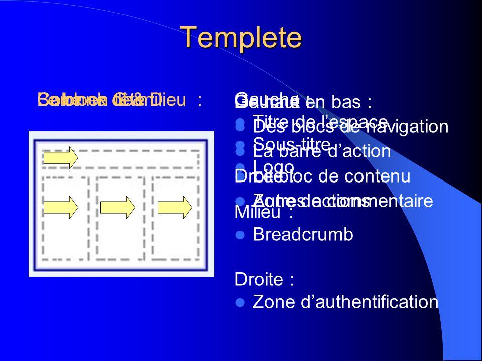 Templete Gauche :  Titre de l'espace  Sous-titre  Logo Milieu :  Breadcrumb Droite :  Zone d'authentification Barre en tête :Colonne G & D :Le bl