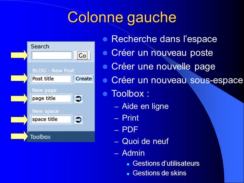  Recherche dans l'espace  Créer un nouveau poste  Créer une nouvelle page  Créer un nouveau sous-espace  Toolbox : – Aide en ligne – Print – PDF – Quoi de neuf – Admin  Gestions d'utilisateurs  Gestions de skins Colonne gauche