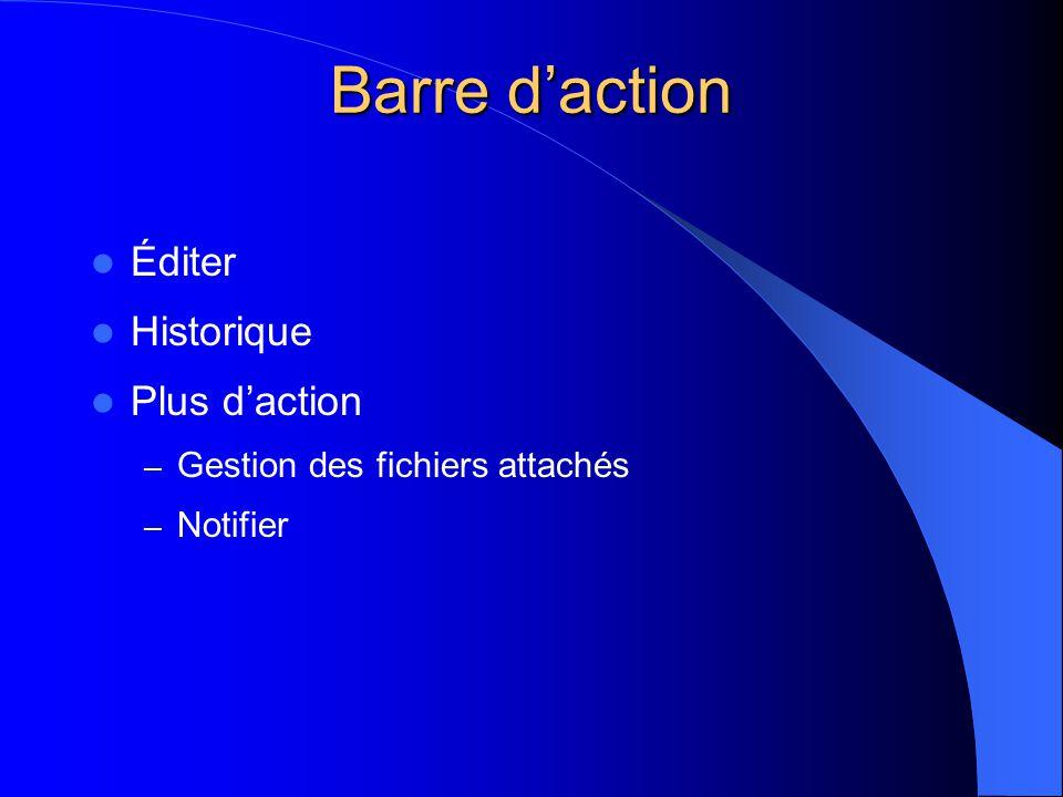  Éditer  Historique  Plus d'action – Gestion des fichiers attachés – Notifier Barre d'action