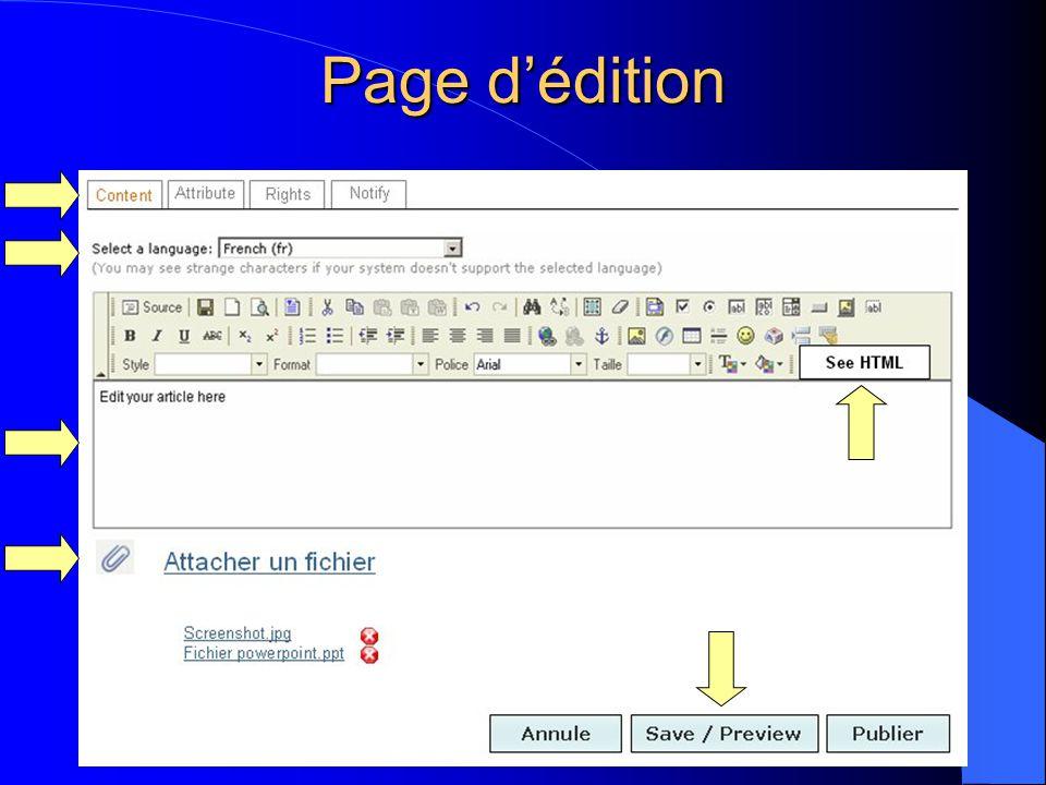Page d'édition
