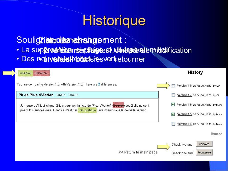 Historique Souligner des changement : • La suppression <- rouge et un trait au milieu • Des nouveaux textes <- vert. Liste de version : • la référence