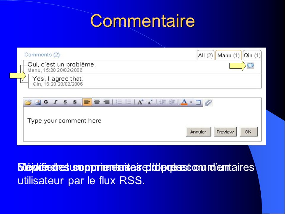 Commentaire Répondre un commentaire d'autreModifier et supprimer ses propres commentairesSuivre des commentaires d'un post ou d'un utilisateur par le flux RSS.