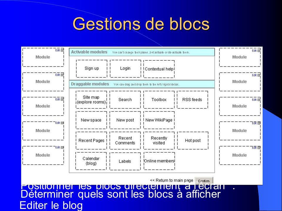 Gestions de blocs Positionner les blocs directement à l'écran. Déterminer quels sont les blocs à afficher Editer le blog