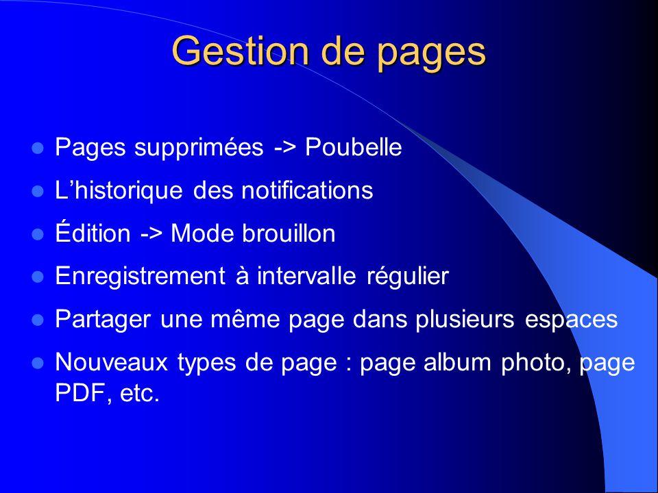 Gestion de pages  Pages supprimées -> Poubelle  L'historique des notifications  Édition -> Mode brouillon  Enregistrement à intervalle régulier  Partager une même page dans plusieurs espaces  Nouveaux types de page : page album photo, page PDF, etc.