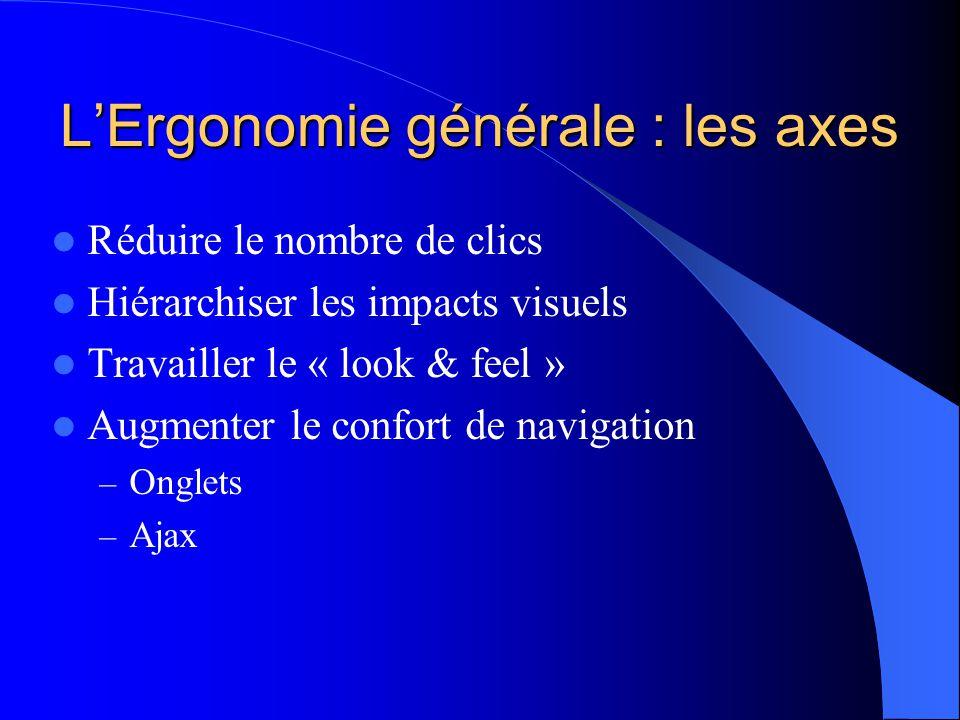 L'Ergonomie générale : les axes  Réduire le nombre de clics  Hiérarchiser les impacts visuels  Travailler le « look & feel »  Augmenter le confort de navigation – Onglets – Ajax
