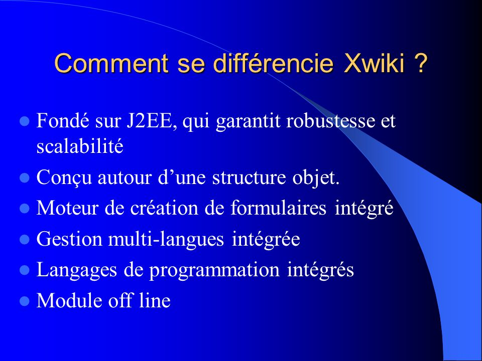 Comment se différencie Xwiki .