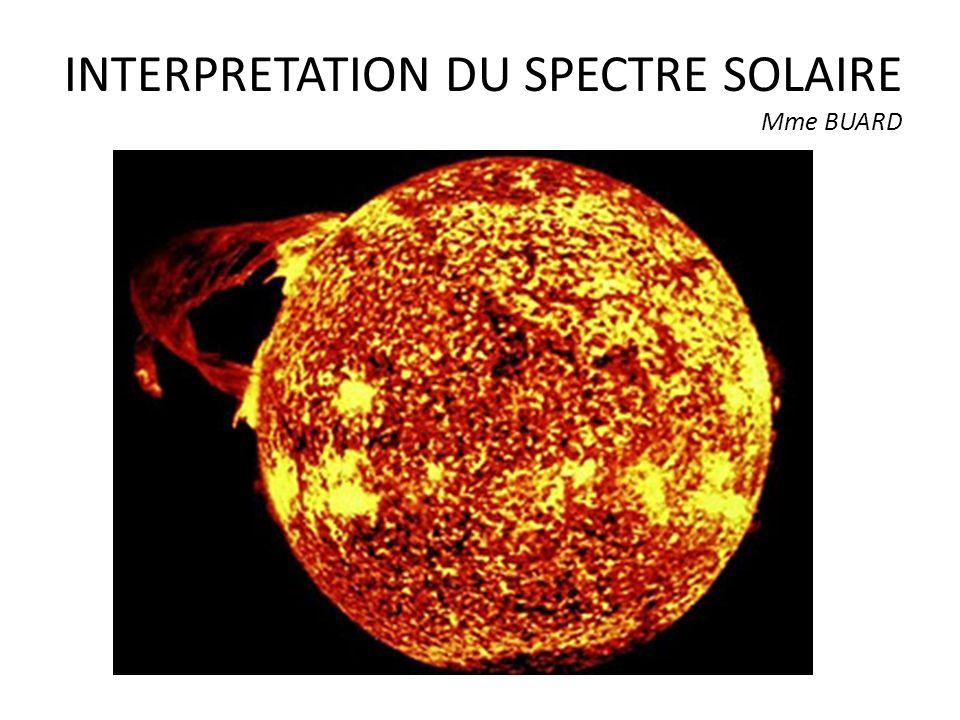 INTERPRETATION DU SPECTRE SOLAIRE Mme BUARD