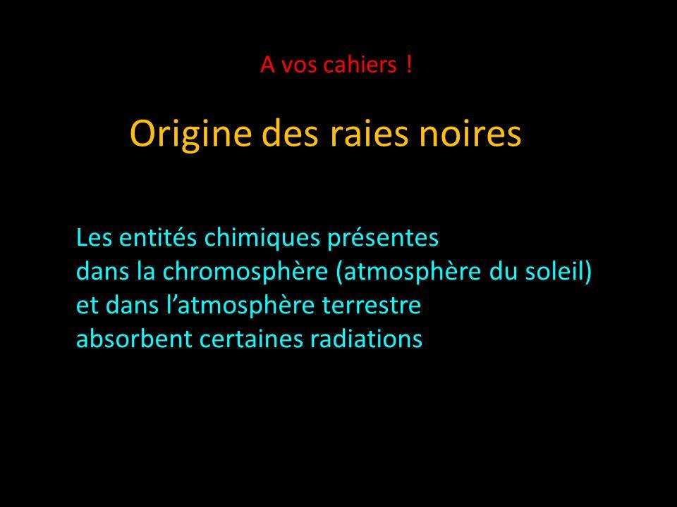 Origine des raies noires Les entités chimiques présentes dans la chromosphère (atmosphère du soleil) et dans l'atmosphère terrestre absorbent certaines radiations A vos cahiers !