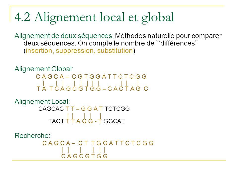 4.2 Alignement local et global Alignement de deux séquences: Méthodes naturelle pour comparer deux séquences. On compte le nombre de ``différences'' (
