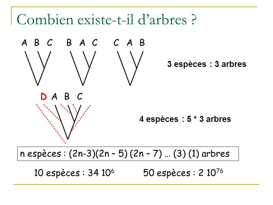 n espèces : (2n-3)(2n – 5) (2n – 7) … (3) (1) arbres 3 espèces : 3 arbres Combien existe-t-il d'arbres ? 10 espèces : 34 10 6 50 espèces : 2 10 76 ACB