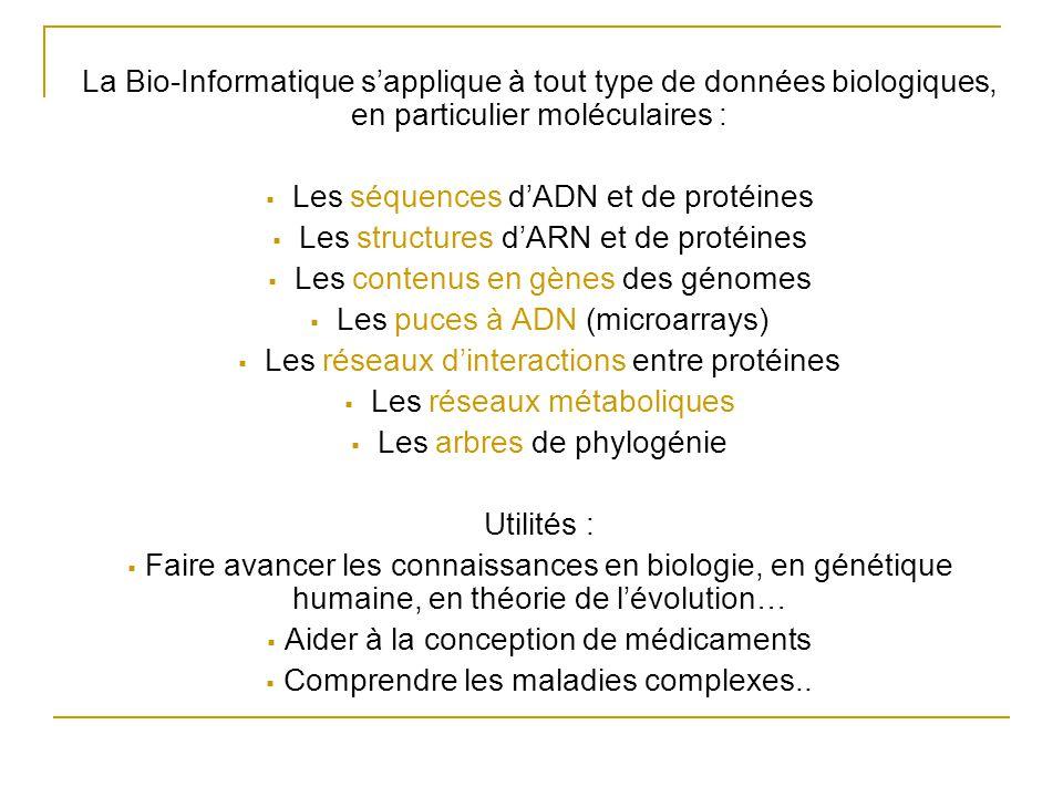La Bio-Informatique s'applique à tout type de données biologiques, en particulier moléculaires :  Les séquences d'ADN et de protéines  Les structures d'ARN et de protéines  Les contenus en gènes des génomes  Les puces à ADN (microarrays)  Les réseaux d'interactions entre protéines  Les réseaux métaboliques  Les arbres de phylogénie Utilités :  Faire avancer les connaissances en biologie, en génétique humaine, en théorie de l'évolution…  Aider à la conception de médicaments  Comprendre les maladies complexes..