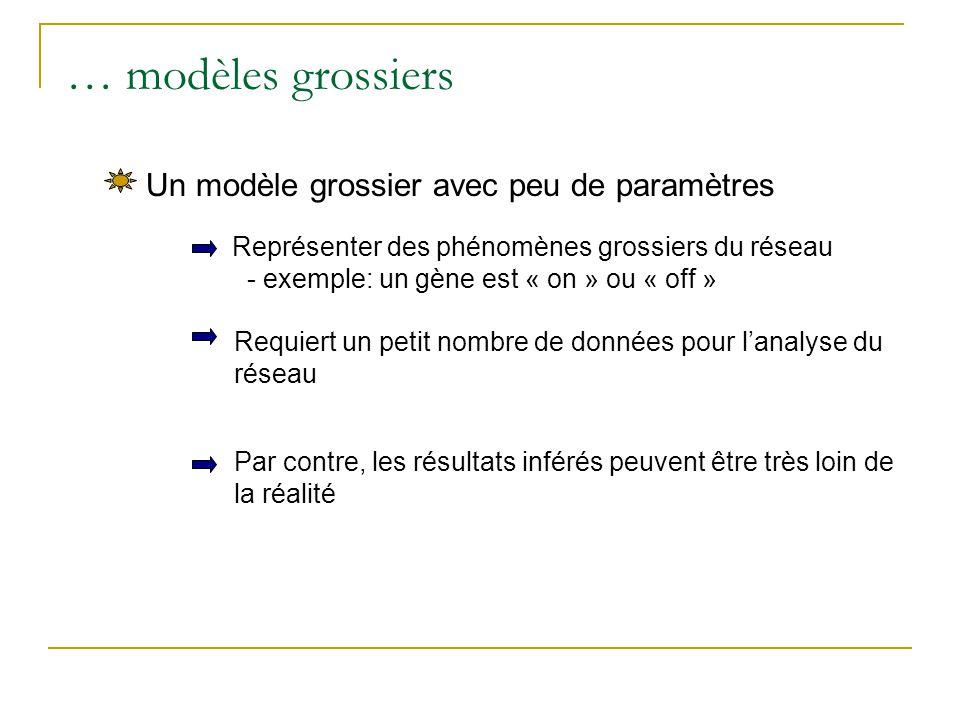 … modèles grossiers Un modèle grossier avec peu de paramètres Représenter des phénomènes grossiers du réseau - exemple: un gène est « on » ou « off » Requiert un petit nombre de données pour l'analyse du réseau Par contre, les résultats inférés peuvent être très loin de la réalité