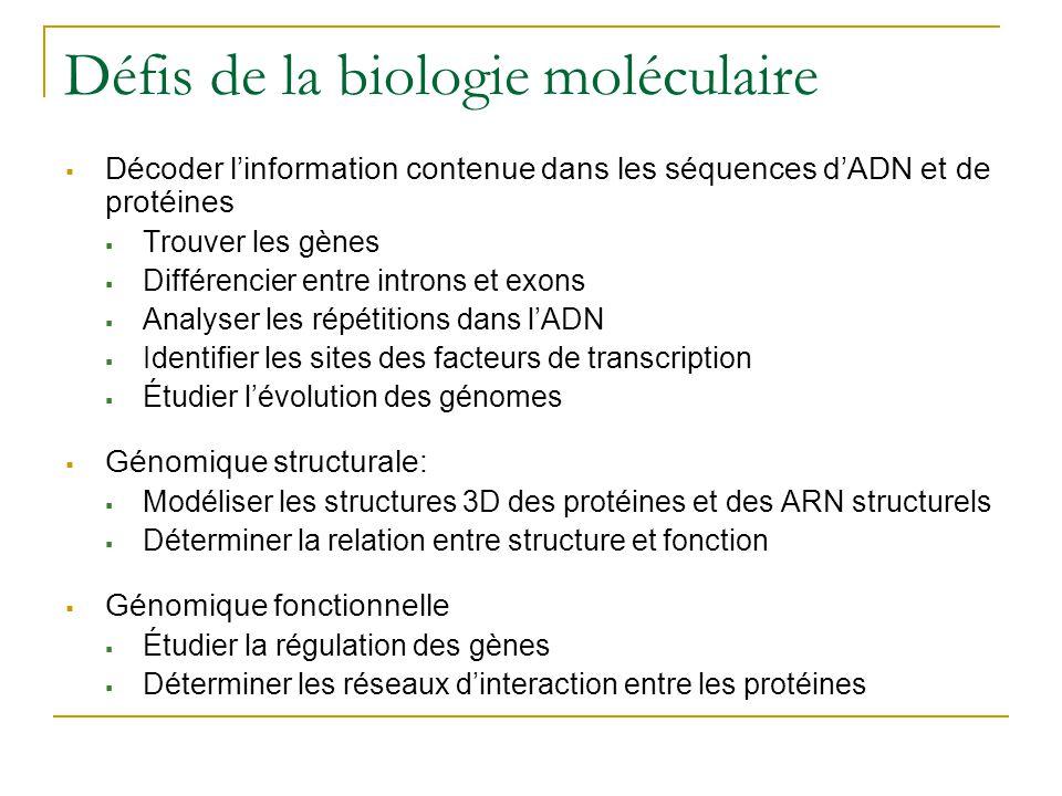 Défis de la biologie moléculaire  Décoder l'information contenue dans les séquences d'ADN et de protéines  Trouver les gènes  Différencier entre in