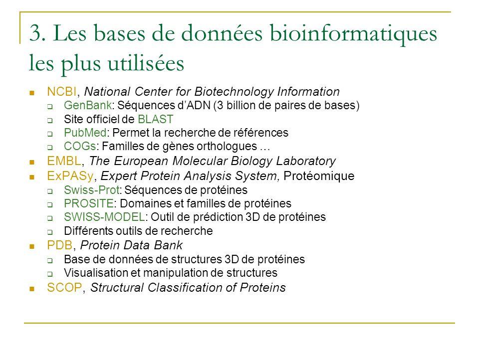 3. Les bases de données bioinformatiques les plus utilisées  NCBI, National Center for Biotechnology Information  GenBank: Séquences d'ADN (3 billio