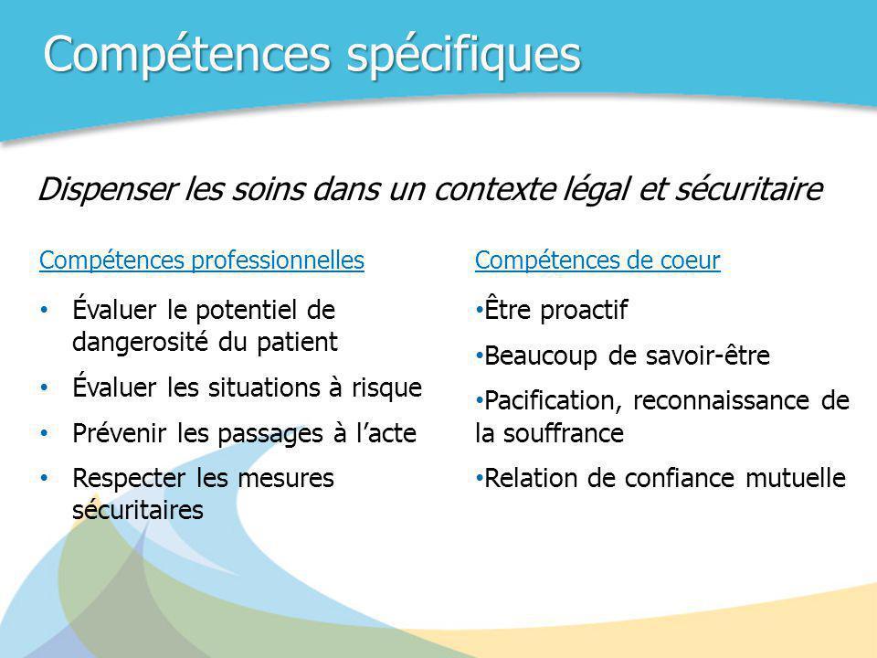Compétences spécifiques Compétences professionnelles • Évaluer le potentiel de dangerosité du patient • Évaluer les situations à risque • Prévenir les