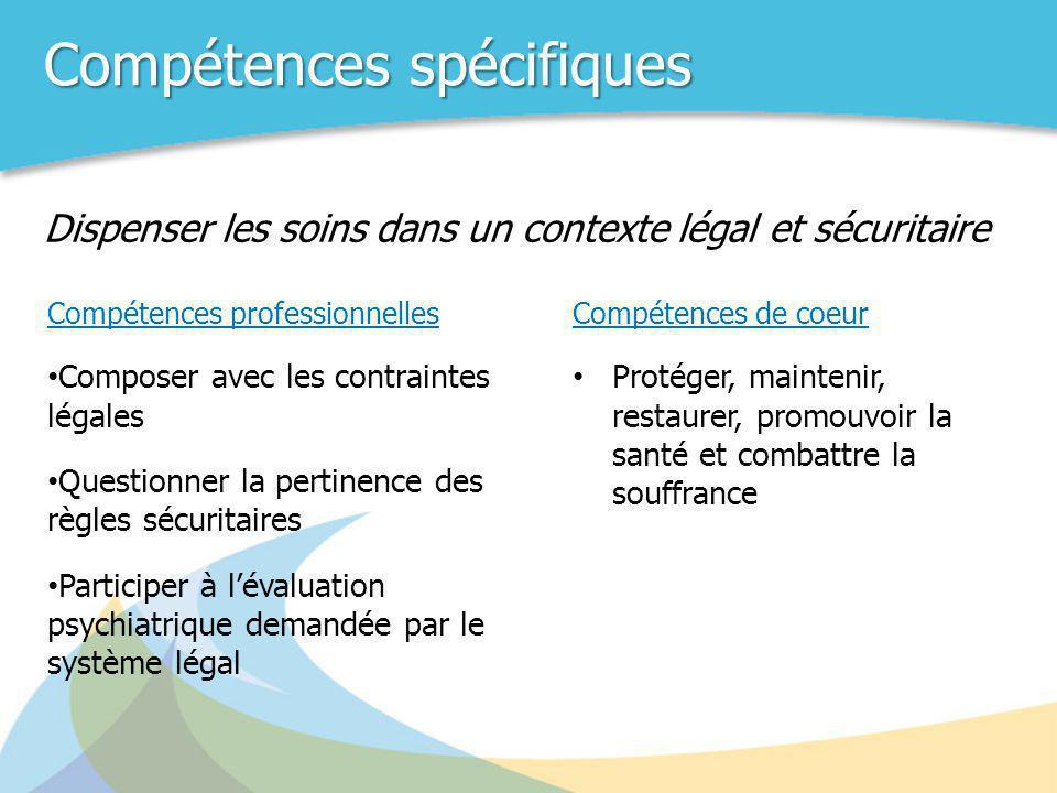 Compétences spécifiques Compétences professionnelles • Composer avec les contraintes légales • Questionner la pertinence des règles sécuritaires • Par