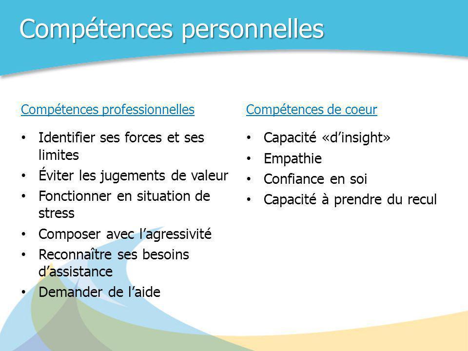 Compétences personnelles Compétences professionnelles • Identifier ses forces et ses limites • Éviter les jugements de valeur • Fonctionner en situati