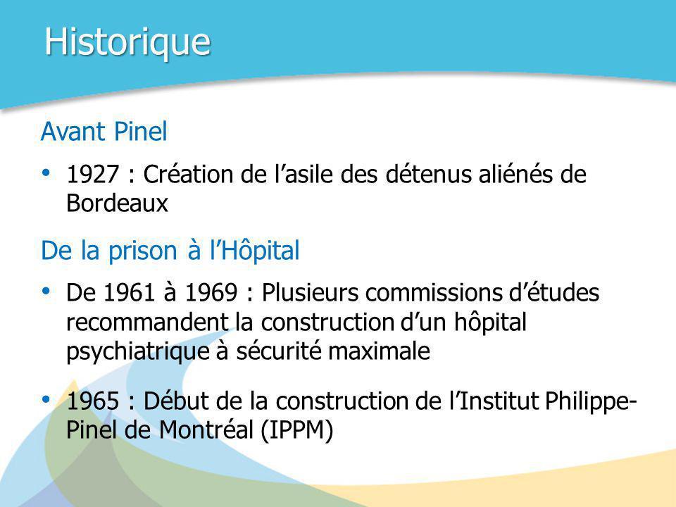 Historique Avant Pinel • 1927 : Création de l'asile des détenus aliénés de Bordeaux De la prison à l'Hôpital • De 1961 à 1969 : Plusieurs commissions