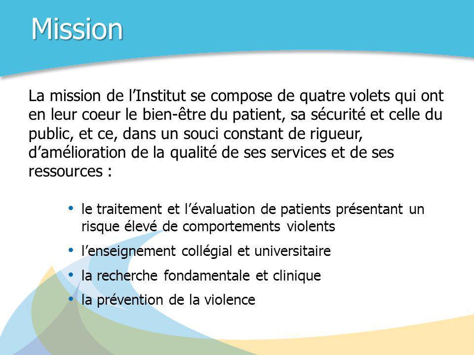 Mission La mission de l'Institut se compose de quatre volets qui ont en leur coeur le bien-être du patient, sa sécurité et celle du public, et ce, dan