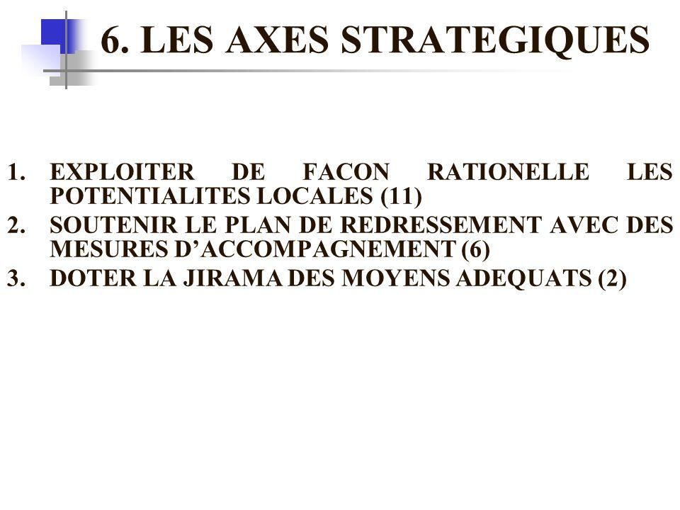 6. LES AXES STRATEGIQUES 1.EXPLOITER DE FACON RATIONELLE LES POTENTIALITES LOCALES (11) 2.SOUTENIR LE PLAN DE REDRESSEMENT AVEC DES MESURES D'ACCOMPAG