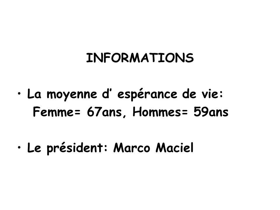 INFORMATIONS •La moyenne d' espérance de vie: Femme= 67ans, Hommes= 59ans •Le président: Marco Maciel