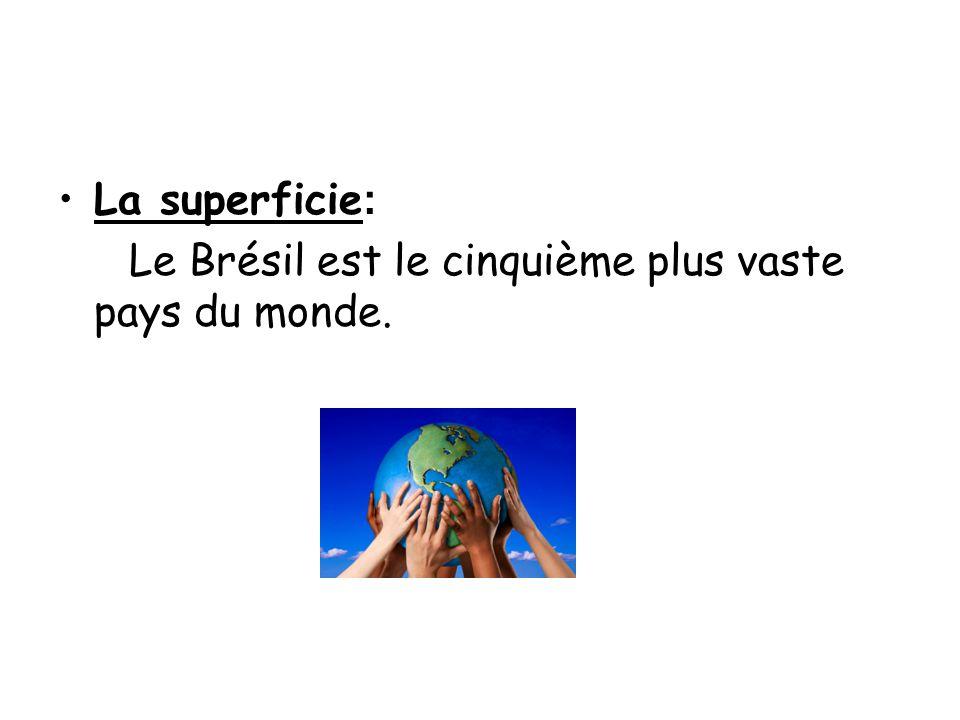 •La superficie : Le Brésil est le cinquième plus vaste pays du monde.