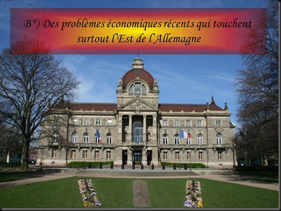 B°) Des problèmes économiques récents qui touchent surtout l'Est de l'Allemagne