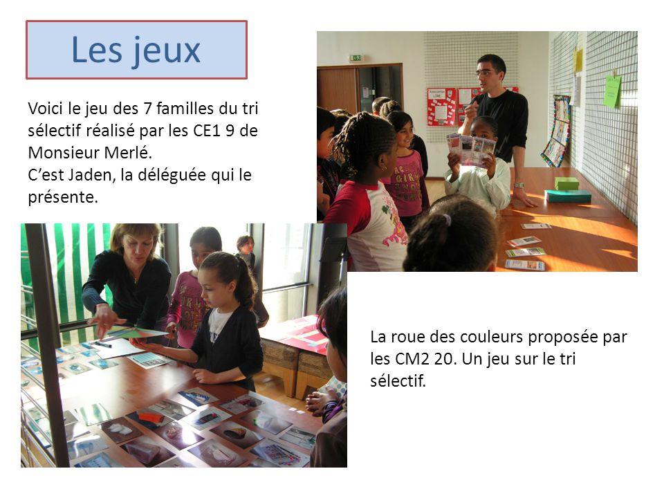 Voici le jeu des 7 familles du tri sélectif réalisé par les CE1 9 de Monsieur Merlé. C'est Jaden, la déléguée qui le présente. La roue des couleurs pr