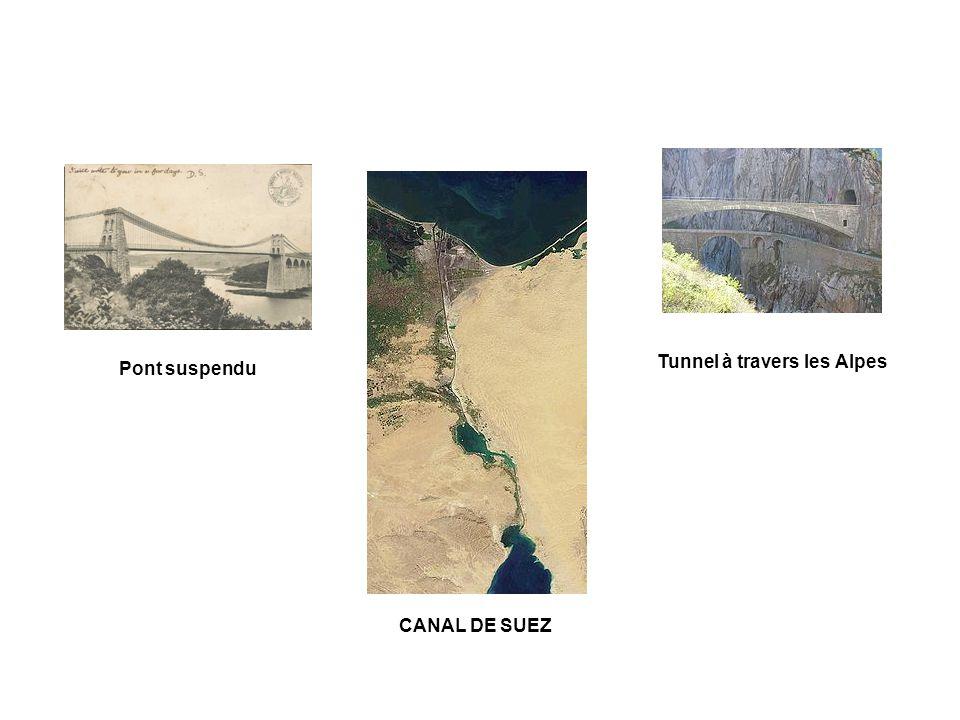 CANAL DE SUEZ Pont suspendu Tunnel à travers les Alpes