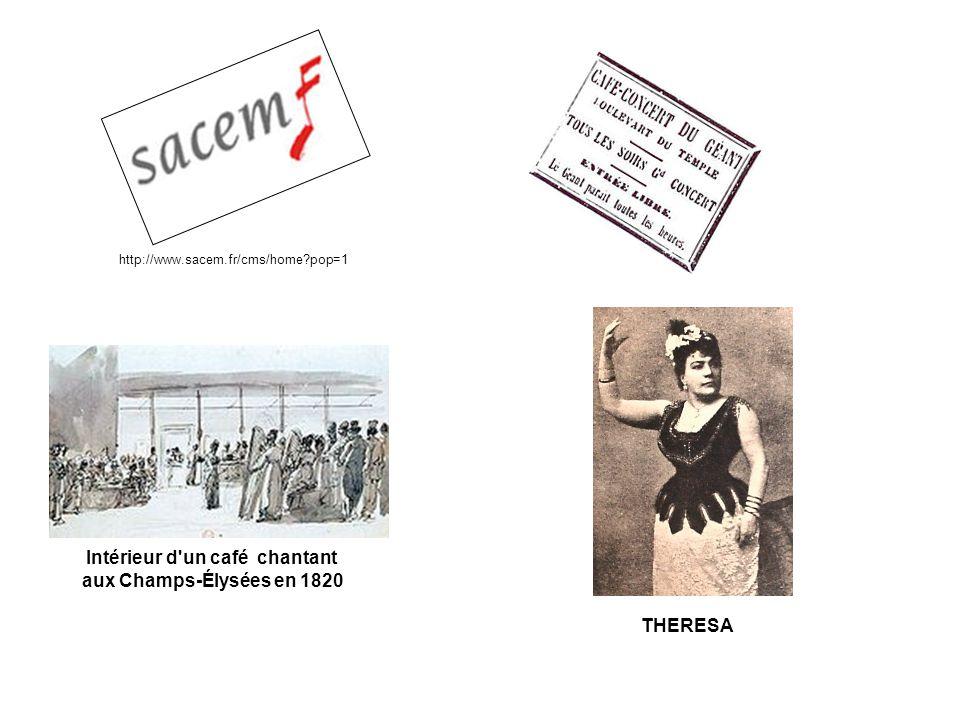 http://www.sacem.fr/cms/home?pop=1 Intérieur d un café chantant aux Champs-Élysées en 1820 THERESA